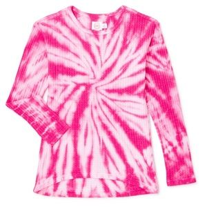 Wonder Nation Girls Long Sleeve Tie-Dye Waffle Top
